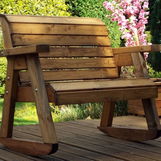Little Fellas Kids Wooden Garden Bench Rocker