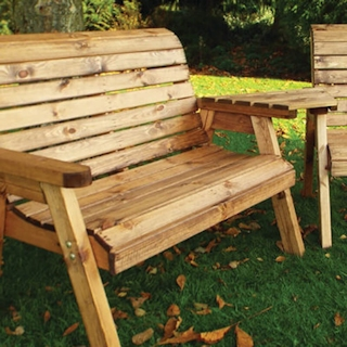 Twin Wooden Garden Bench Set - Angled