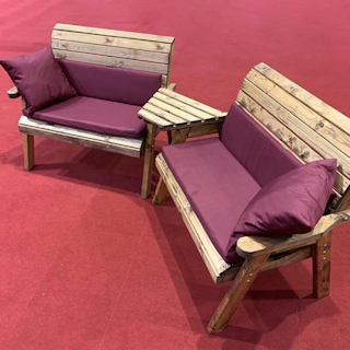 Twin Wooden Garden Bench Set Angled with Burgundy Cushions