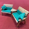 Twin Wooden Garden Bench Set Angled with Green Cushions/