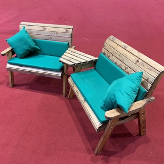 Twin Wooden Garden Bench Set Angled with Green Cushions