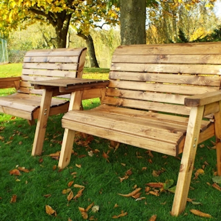 Twin Wooden Garden Bench Set - Straight