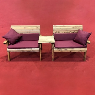 Twin Wooden Garden Bench Set Straight with Burgundy Cushions