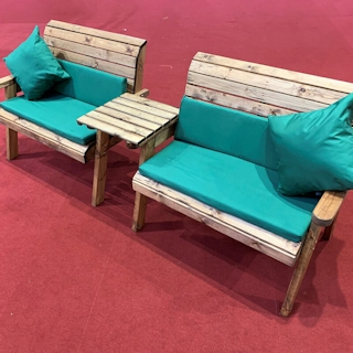 Twin Wooden Garden Bench Set Straight with Green Cushions