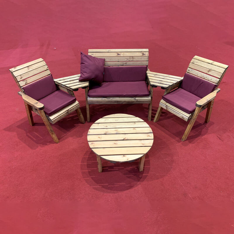 Four Seater Outdoor Wooden Set with Round Table & Burgundy Cushions/