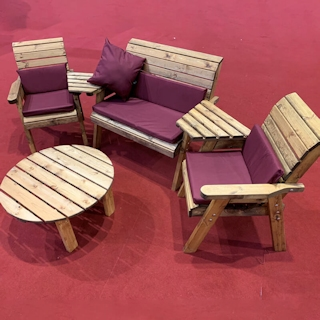 Four Seater Outdoor Wooden Set with Round Table & Burgundy Cushions