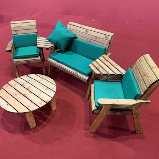 Four Seater Outdoor Wooden Set with Round Table & Green Cushions