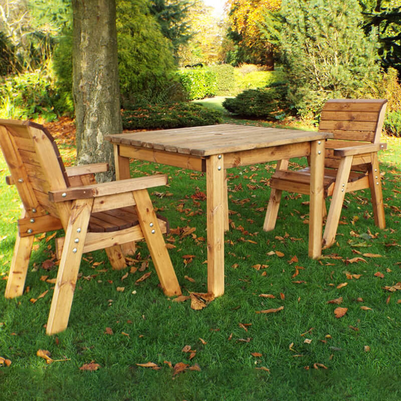 Two Seater Wooden Garden Table Set with Burgundy Cushions/