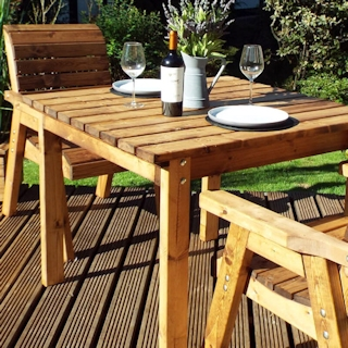 Two Seater Wooden Garden Table Set with Burgundy Cushions