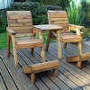 Deluxe Wooden Garden Lounger Set - Straight/