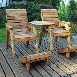 Deluxe Wooden Garden Lounger Set - Straight