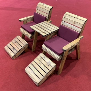 Deluxe Wooden Garden Lounger Set Straight with Burgundy Cushions
