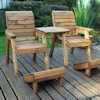 Deluxe Wooden Garden Lounger Set Straight with Burgundy Cushions/