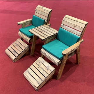 Deluxe Wooden Garden Lounger Set Straight with Green Cushions