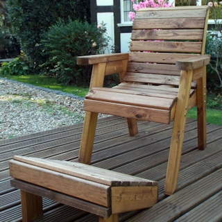 One Seater Wooden Garden Lounger