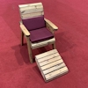 One Seater Wooden Garden Lounger with Burgundy Cushions/