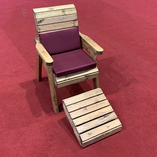 One Seater Wooden Garden Lounger with Burgundy Cushions