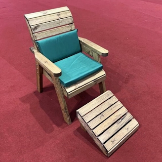 One Seater Wooden Garden Lounger with Green Cushions