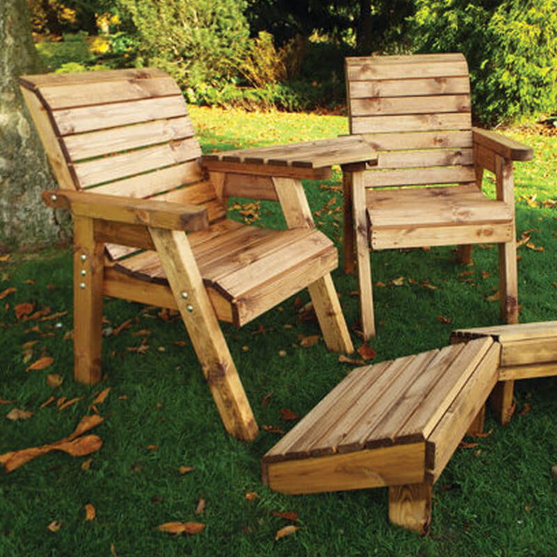 Deluxe Wooden Garden Lounger Set - Angled/