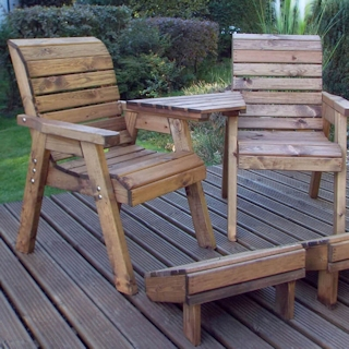 Deluxe Wooden Garden Lounger Set - Angled