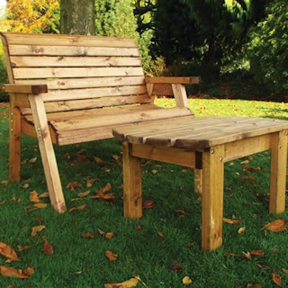 Deluxe Wooden Garden Bench Set