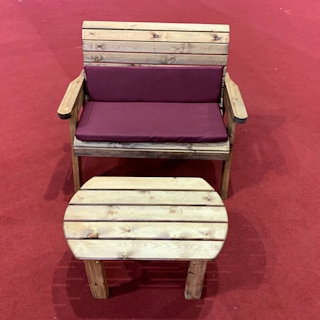 Deluxe Wooden Garden Bench Set with Burgundy Cushions