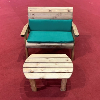 Deluxe Wooden Garden Bench Set with Green Cushions