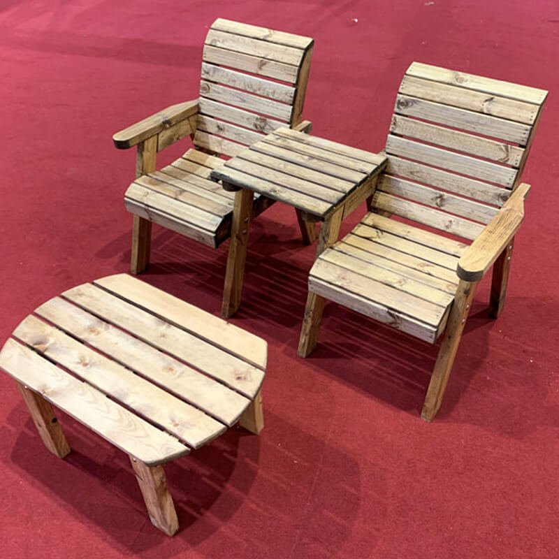 Twin Companion Wooden Outdoor Furniture Set - Straight/