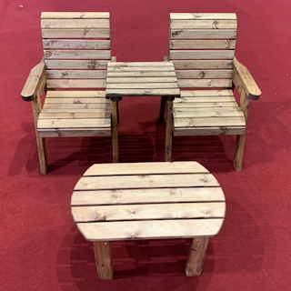 Twin Companion Wooden Outdoor Furniture Set - Straight
