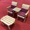 Twin Companion Wooden Outdoor Furniture Set Straight with Burgundy Cushions/