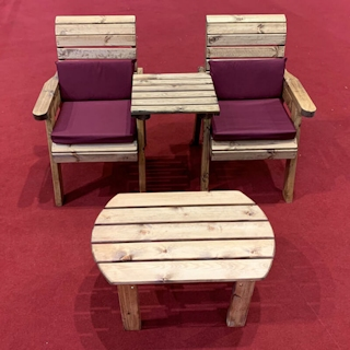 Twin Companion Wooden Outdoor Furniture Set Straight with Burgundy Cushions