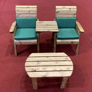 Twin Companion Wooden Outdoor Furniture Set Straight with Green Cushions