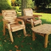 Twin Companion Wooden Outdoor Furniture Set Straight with Green Cushions/