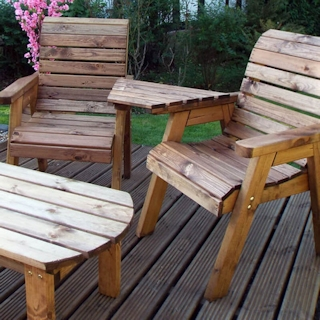 Twin Companion Wooden Outdoor Furniture Set - Angled