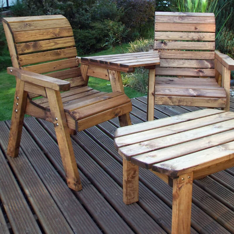 Twin Companion Wooden Outdoor Furniture Set - Angled/