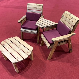 Twin Companion Wooden Outdoor Furniture Set Angled with Burgundy Cushions