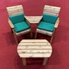 Twin Companion Wooden Outdoor Furniture Set Angled with Green Cushions/