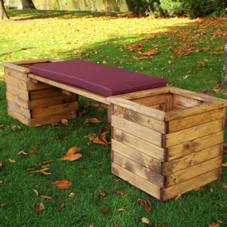 Deluxe Wooden Garden Planter Bench with Burgundy Cushion