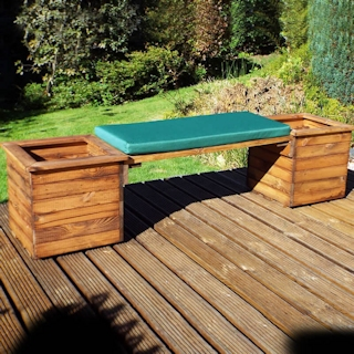 Deluxe Wooden Garden Planter Bench with Green Cushion
