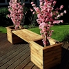 Deluxe Wooden Garden Planter Bench with Green Cushion/
