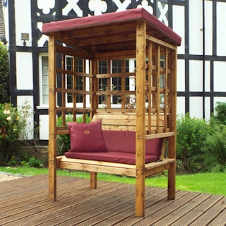 Bramham Two Seater Wooden Garden Arbour - Burgundy