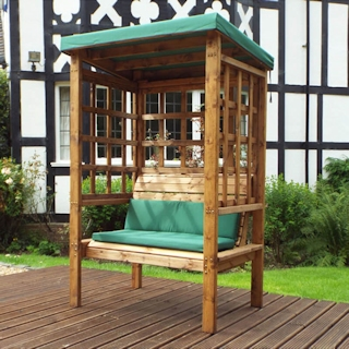 Bramham Two Seater Wooden Garden Arbour - Green