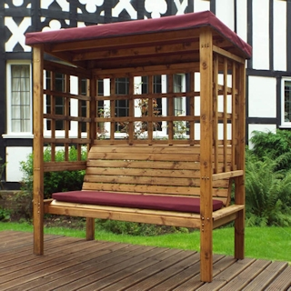 Bramham Three Seater Wooden Garden Arbour - Burgundy