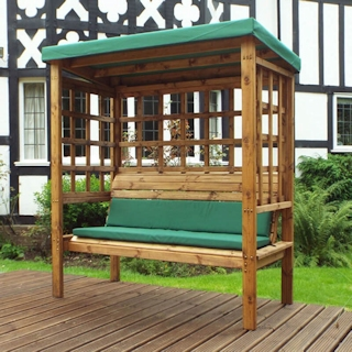 Bramham Three Seater Wooden Garden Arbour - Green