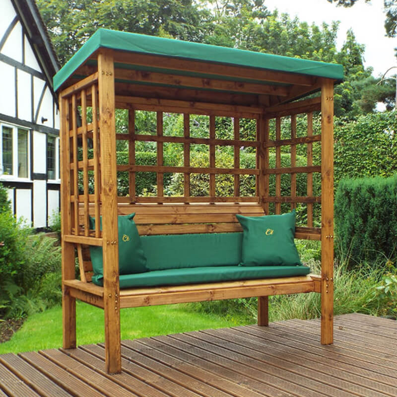 Bramham Three Seater Wooden Garden Arbour - Green/