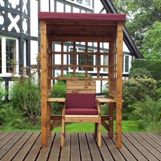 Wentworth Single Seat Wooden Garden Arbour - Burgundy