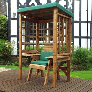 Wentworth Single Seat Wooden Garden Arbour - Green
