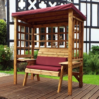 Wentworth Two Seater Wooden Garden Arbour - Burgundy