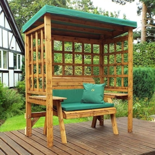Wentworth Two Seater Wooden Garden Arbour - Green