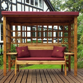Wentworth Three Seater Wooden Garden Arbour - Burgundy